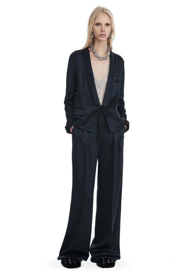 T by ALEXANDER WANG JACKETS AND OUTERWEAR  Women SATIN SUITING JACKET WITH FRONT TIE