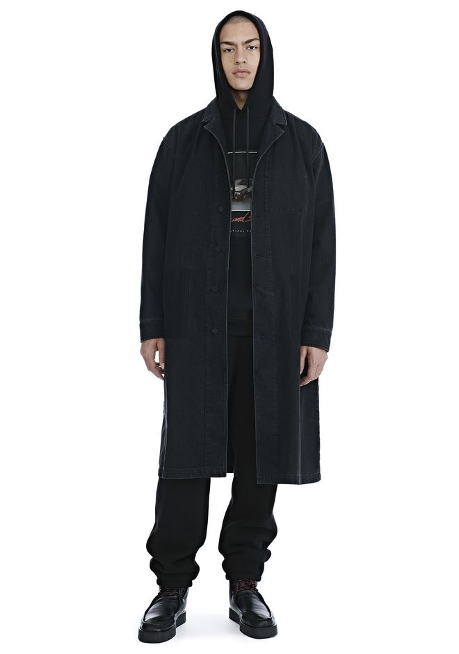 ALEXANDER WANG TRENCHS Homme BLACK DENIM LAB COAT