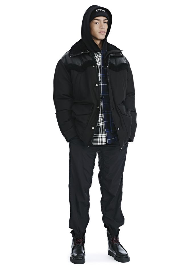 ALEXANDER WANG nwvmens-apparel TUXEDO TWILL AND LEATHER DOWN WESTERN PARKA