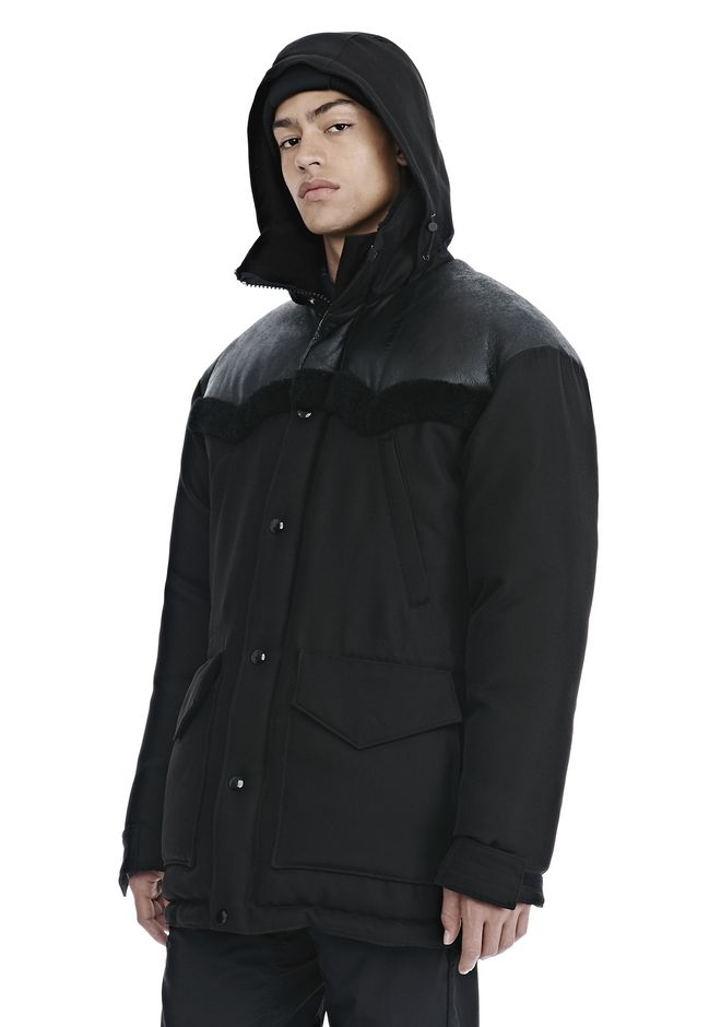 ALEXANDER WANG TUXEDO TWILL AND LEATHER DOWN WESTERN PARKA PARKA Adult 12_n_a