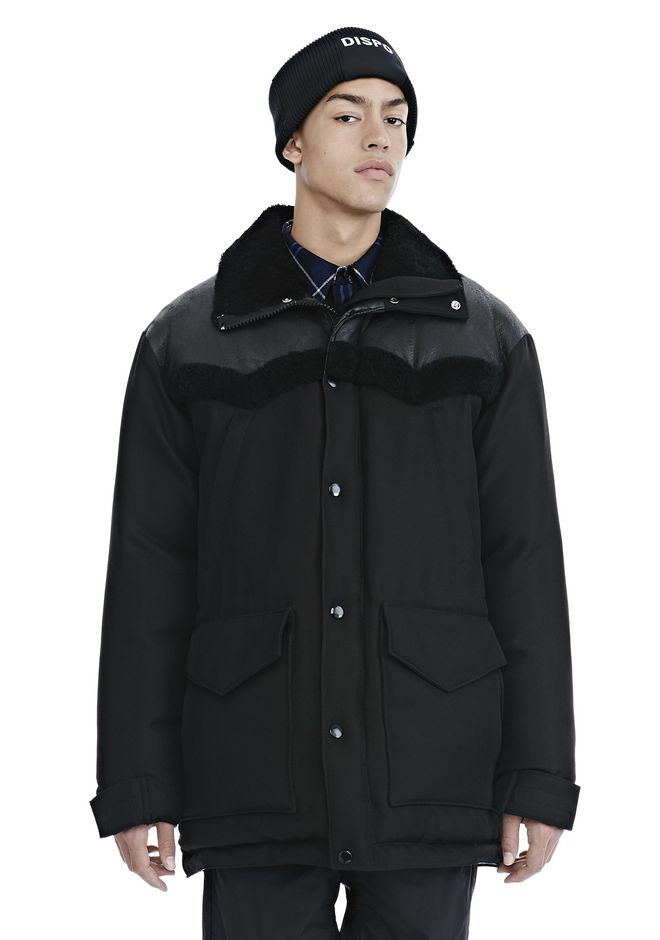 Alexander Wang TUXEDO TWILL AND LEATHER DOWN WESTERN PARKA PARKA ...