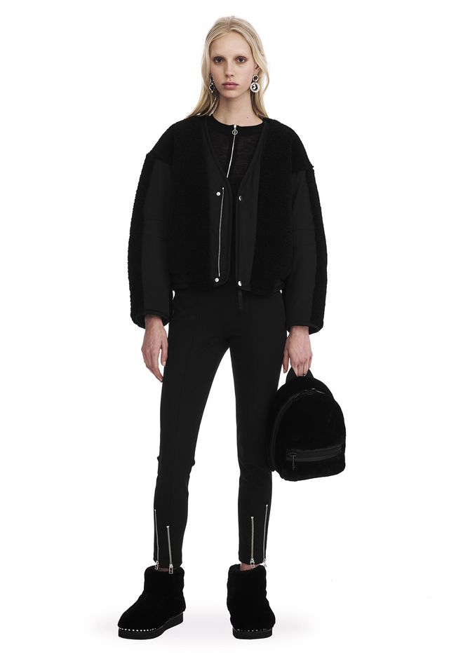 T by ALEXANDER WANG JACKETS AND OUTERWEAR  Women TWILL BOMBER WITH SHEARLING