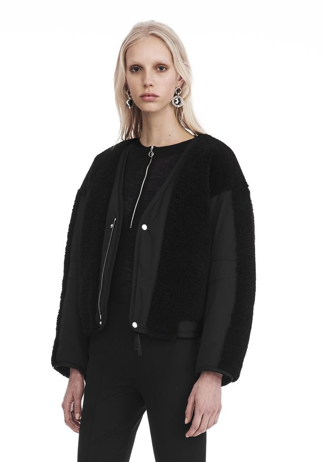 T by ALEXANDER WANG TWILL BOMBER WITH SHEARLING 夹克及外套 Adult 12_n_a