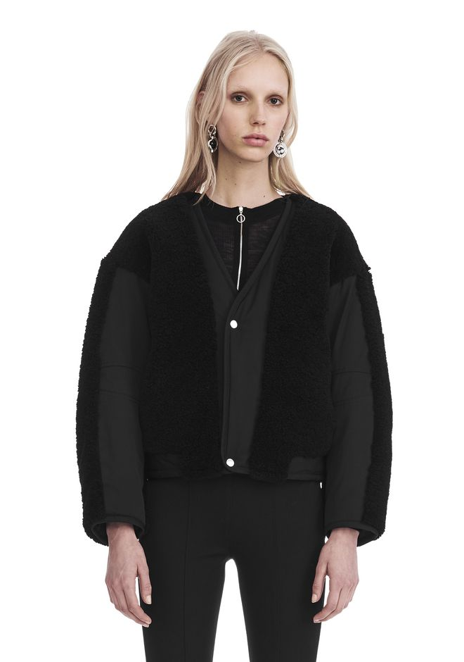T by ALEXANDER WANG TWILL BOMBER WITH SHEARLING 夹克及外套 Adult 12_n_e