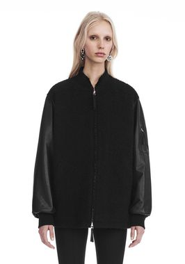 WOOL BOMBER WITH LEATHER SLEEVES