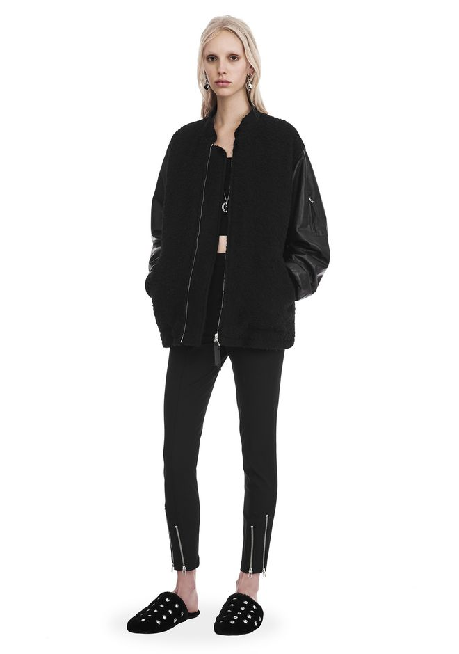 T by ALEXANDER WANG JACKETS AND OUTERWEAR  Women WOOL BOMBER WITH LEATHER SLEEVES