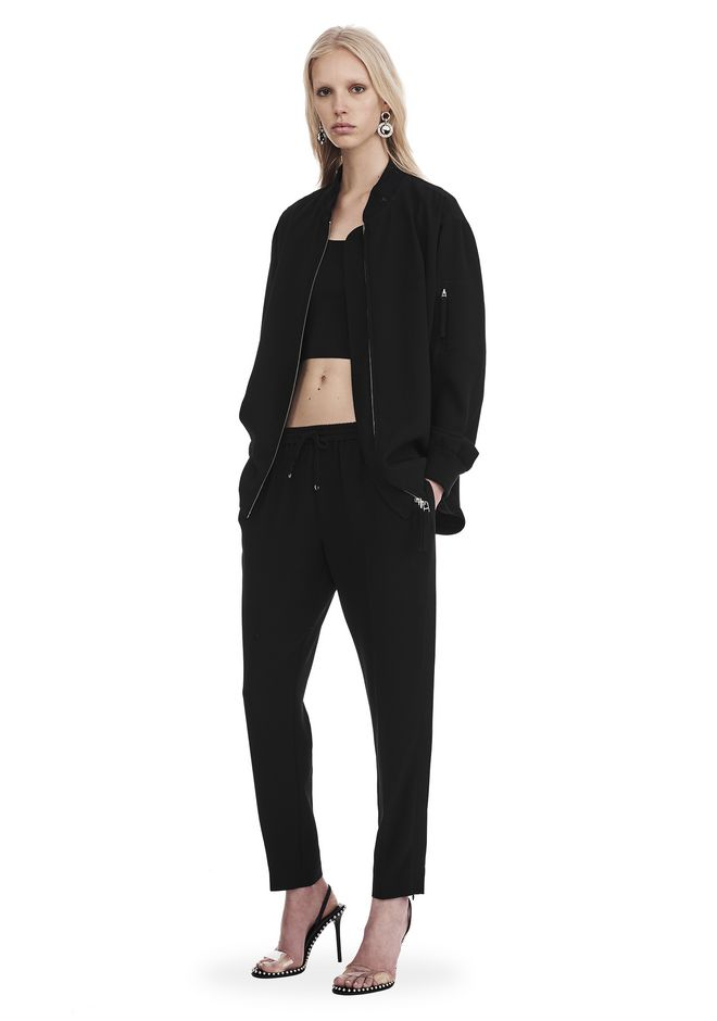 T by ALEXANDER WANG JACKETS AND OUTERWEAR  Women SATIN CREPE LONG SLEEVE WELDED BOMBER