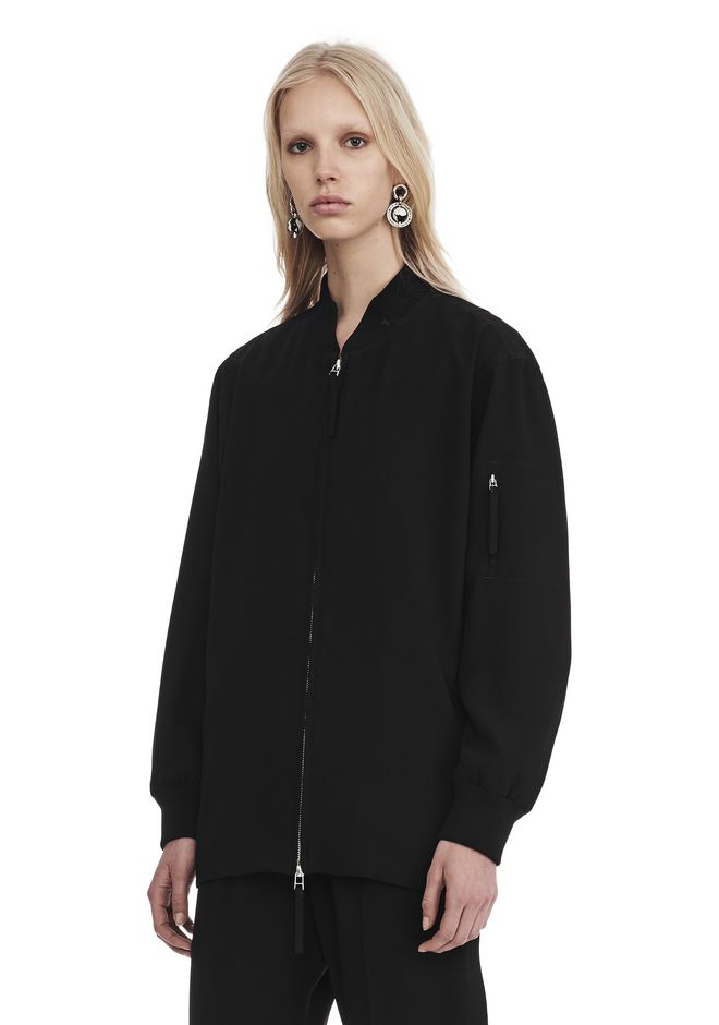 T by ALEXANDER WANG SATIN CREPE LONG SLEEVE WELDED BOMBER JACKETS AND OUTERWEAR  Adult 12_n_a