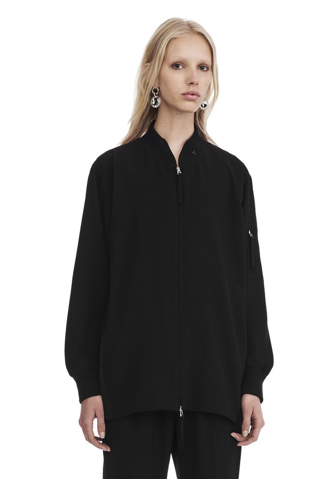 T by ALEXANDER WANG SATIN CREPE LONG SLEEVE WELDED BOMBER JACKETS AND OUTERWEAR  Adult 12_n_e