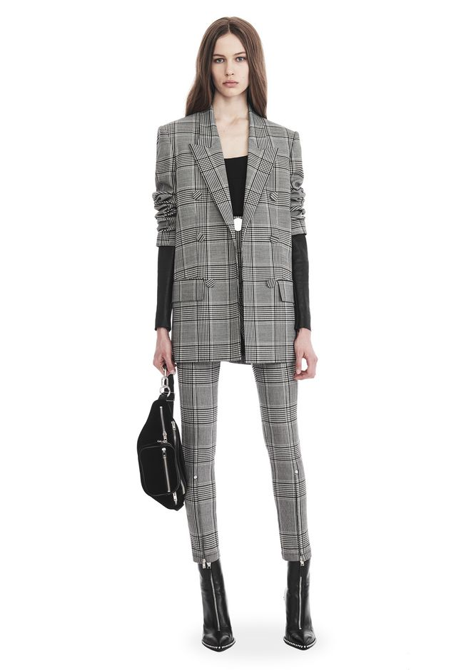 ALEXANDER WANG JACKETS AND OUTERWEAR  Women CHECK TAILORING BLAZER WITH LEATHER SLEEVES