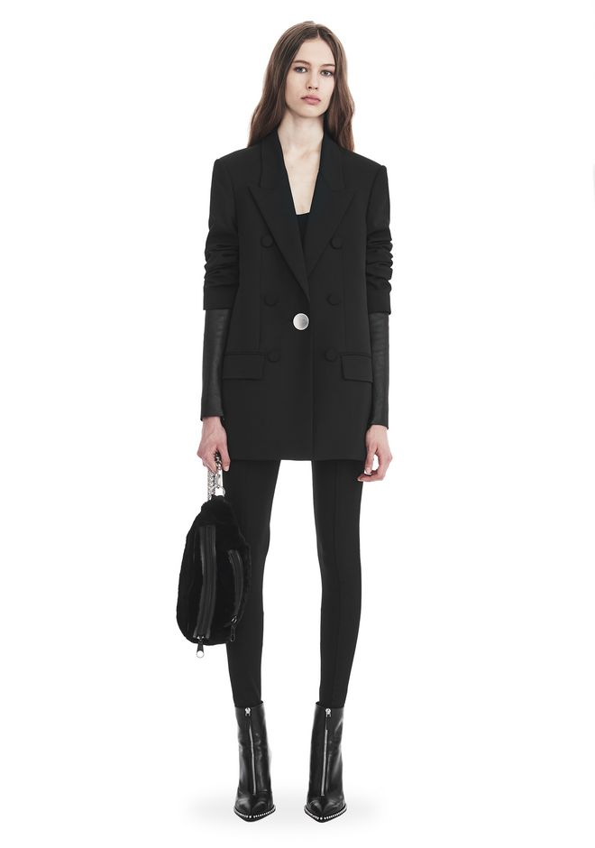 ALEXANDER WANG VESTES ET VÊTEMENTS OUTDOOR SINGLE BREASTED BLAZER WITH LEATHER SLEEVES
