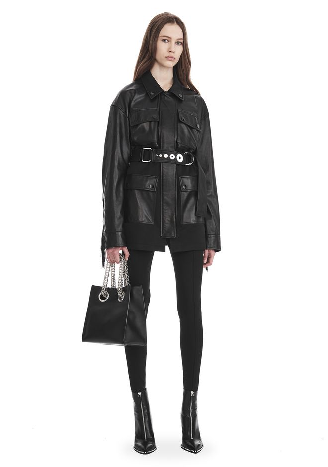ALEXANDER WANG JACKETS AND OUTERWEAR  UTILITY JACKET WITH LEATHER FRINGE DETAIL