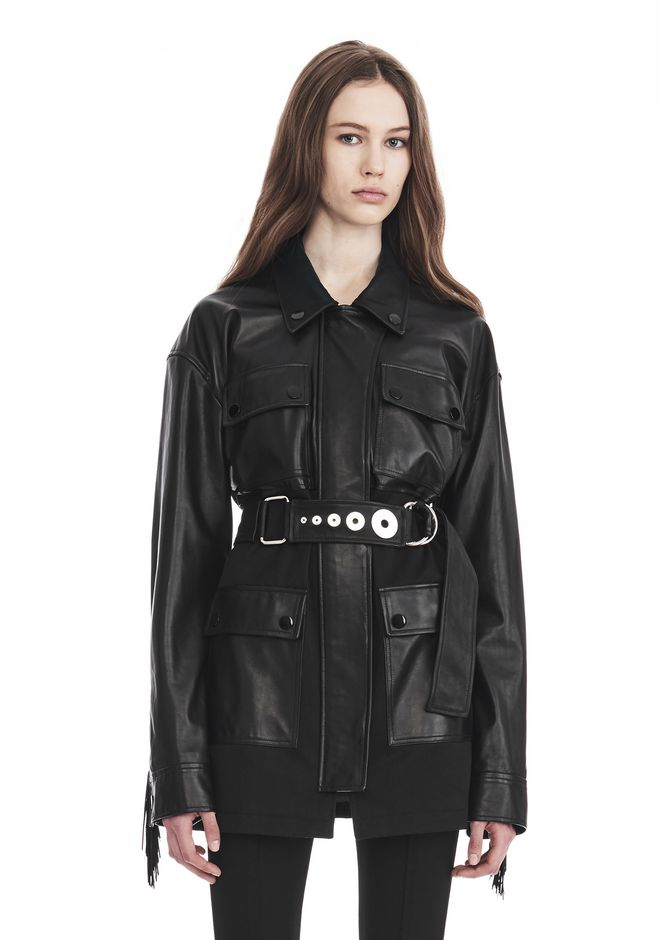 ALEXANDER WANG UTILITY JACKET WITH LEATHER FRINGE DETAIL JACKETS AND OUTERWEAR  Adult 12_n_e