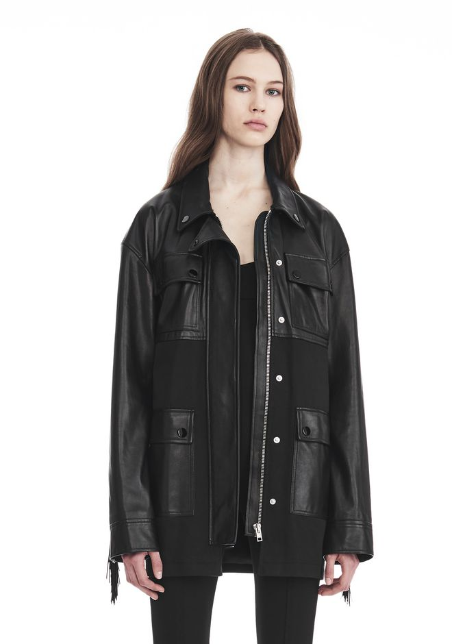 ALEXANDER WANG UTILITY JACKET WITH LEATHER FRINGE DETAIL JACKETS AND OUTERWEAR  Adult 12_n_r