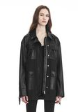 ALEXANDER WANG UTILITY JACKET WITH LEATHER FRINGE DETAIL JACKETS AND OUTERWEAR  Adult 8_n_r