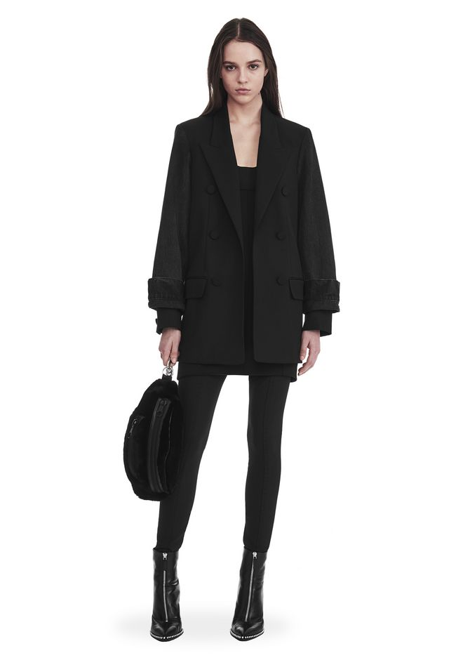 ALEXANDER WANG slrtwot SINGLE BREASTED BLAZER WITH DENIM SLEEVES