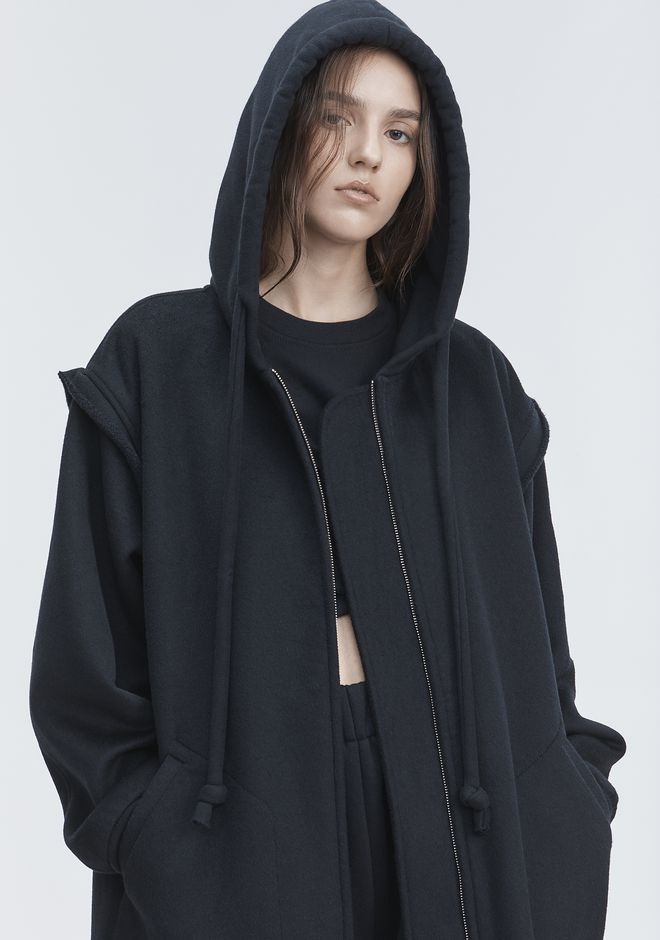 T by ALEXANDER WANG VESTES ET VÊTEMENTS OUTDOOR LONG WOOL HOODED JACKET