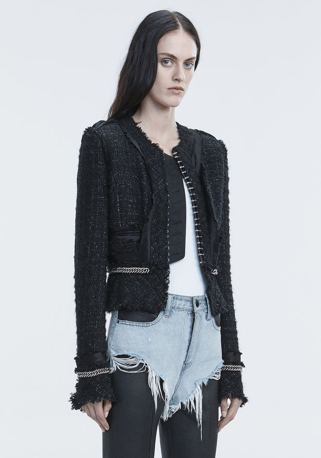 ALEXANDER WANG DECONSTRUCTED TWEED JACKET  JACKETS AND OUTERWEAR  Adult 12_n_a