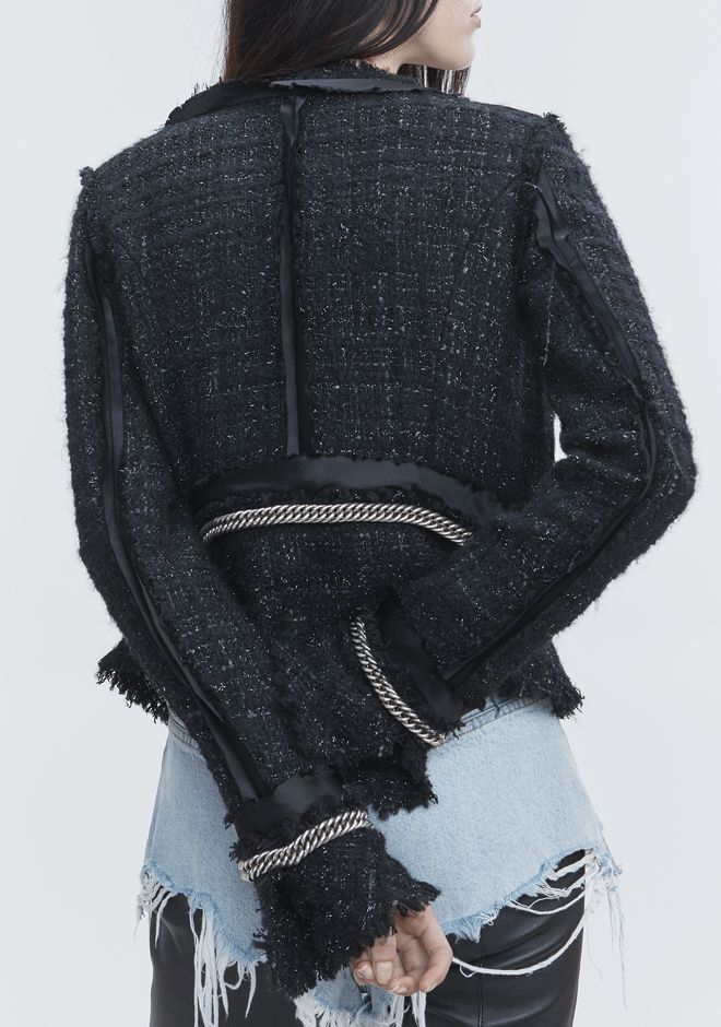 ALEXANDER WANG DECONSTRUCTED TWEED JACKET  JACKETS AND OUTERWEAR  Adult 12_n_e