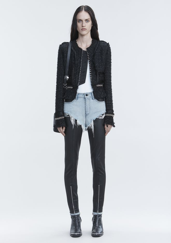 ALEXANDER WANG DECONSTRUCTED TWEED JACKET  JACKETS AND OUTERWEAR  Adult 12_n_f