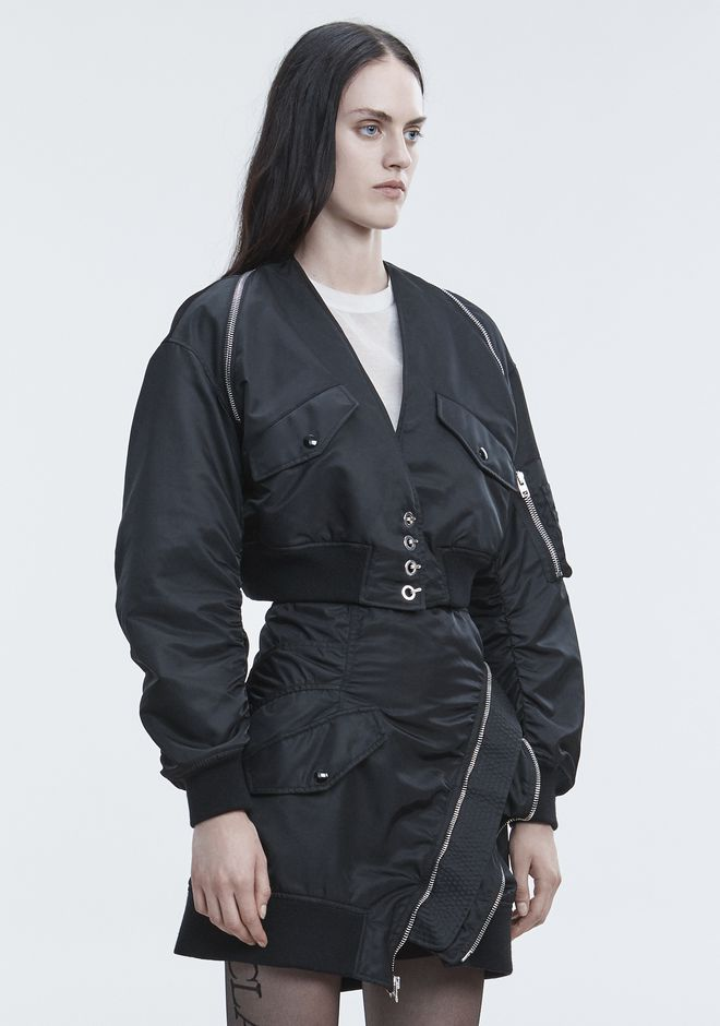 ALEXANDER WANG V-NECK BOMBER  JACKETS AND OUTERWEAR  Adult 12_n_a