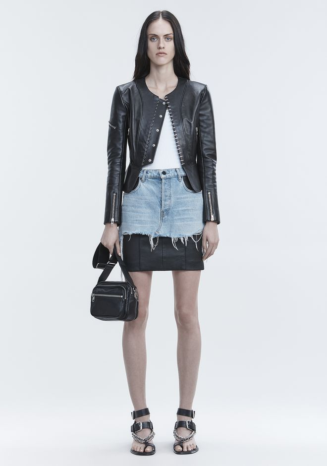 ALEXANDER WANG VESTES ET VÊTEMENTS OUTDOOR Femme PANELED BIKER JACKET