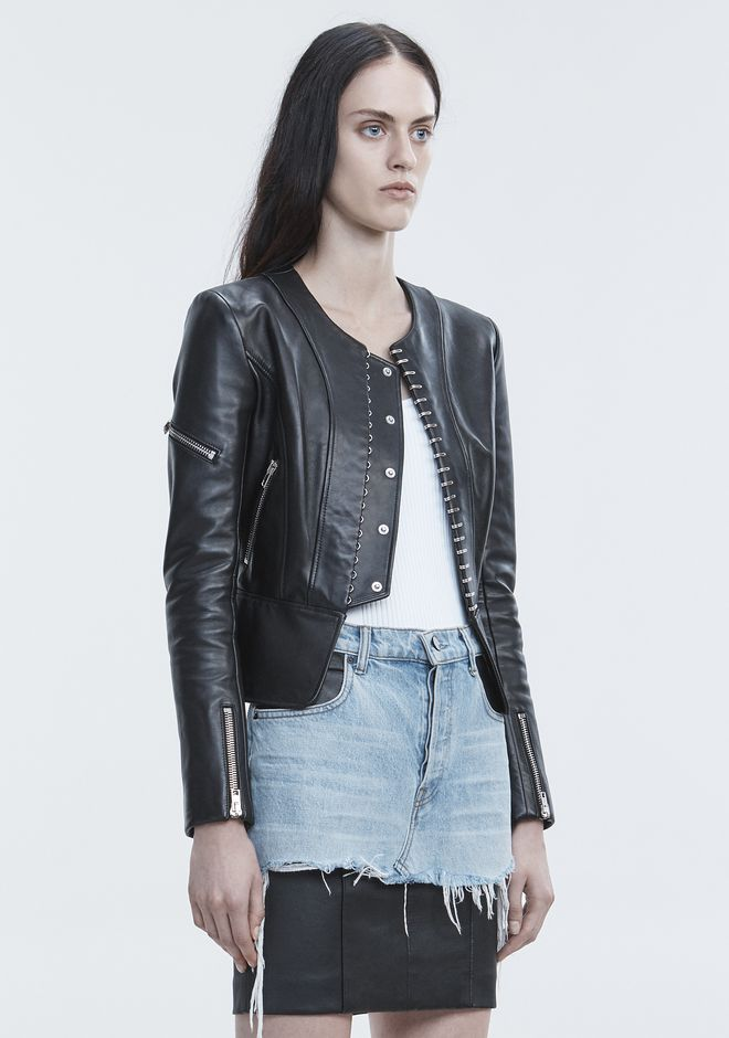 ALEXANDER WANG PANELED BIKER JACKET JACKETS AND OUTERWEAR  Adult 12_n_a