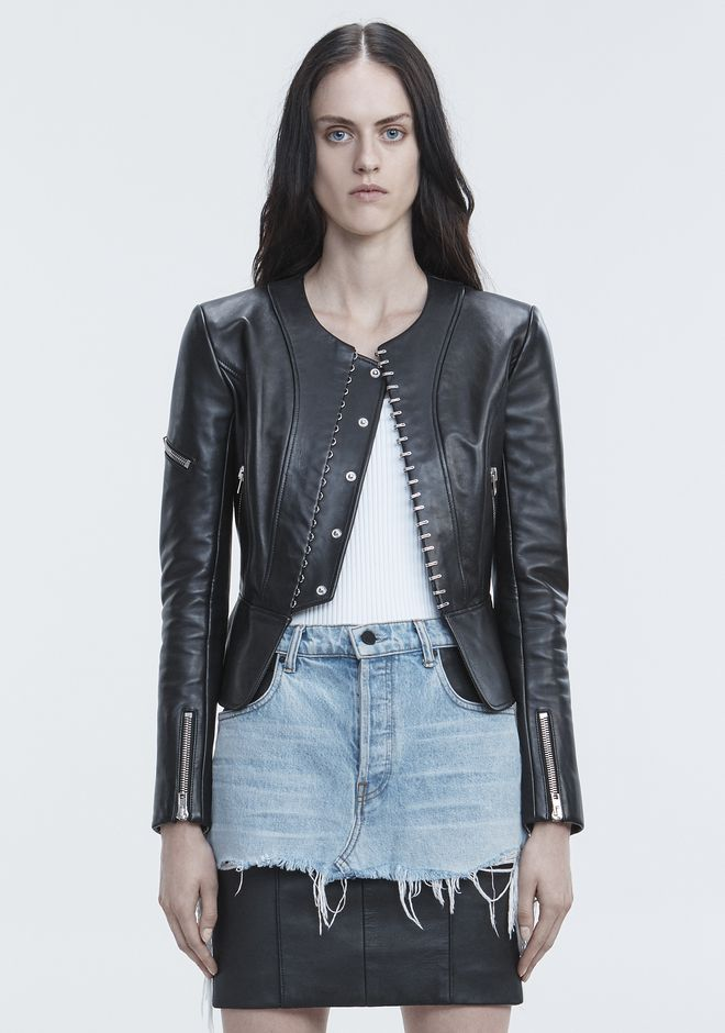 ALEXANDER WANG PANELED BIKER JACKET JACKETS AND OUTERWEAR  Adult 12_n_d