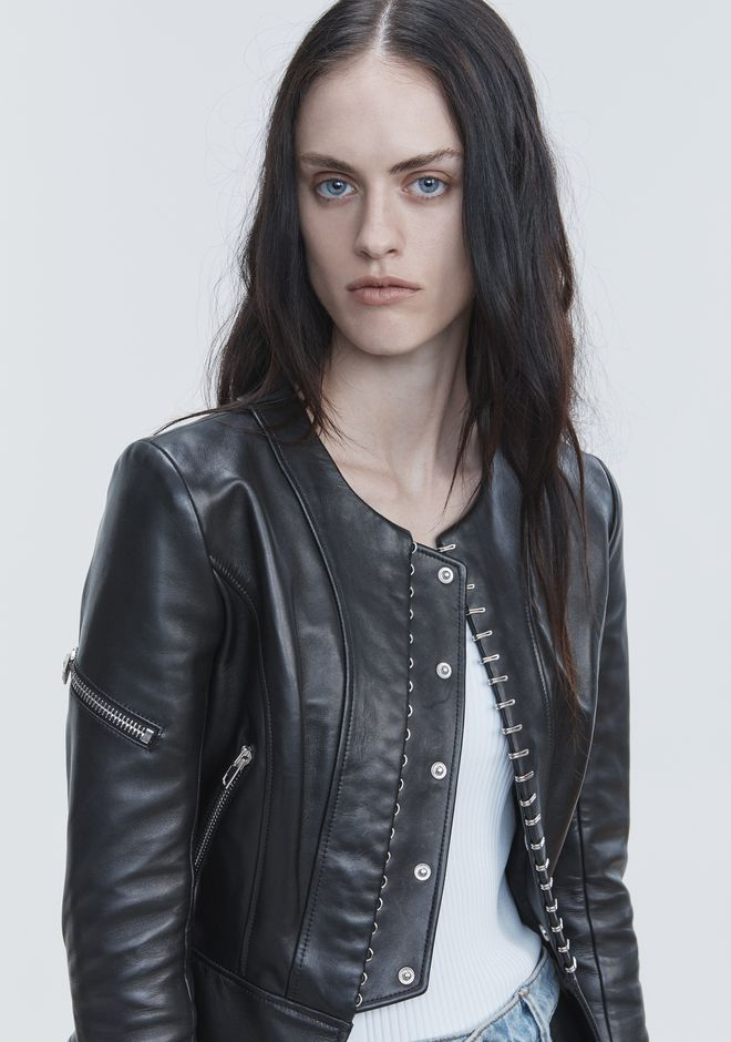 ALEXANDER WANG PANELED BIKER JACKET JACKETS AND OUTERWEAR  Adult 12_n_e
