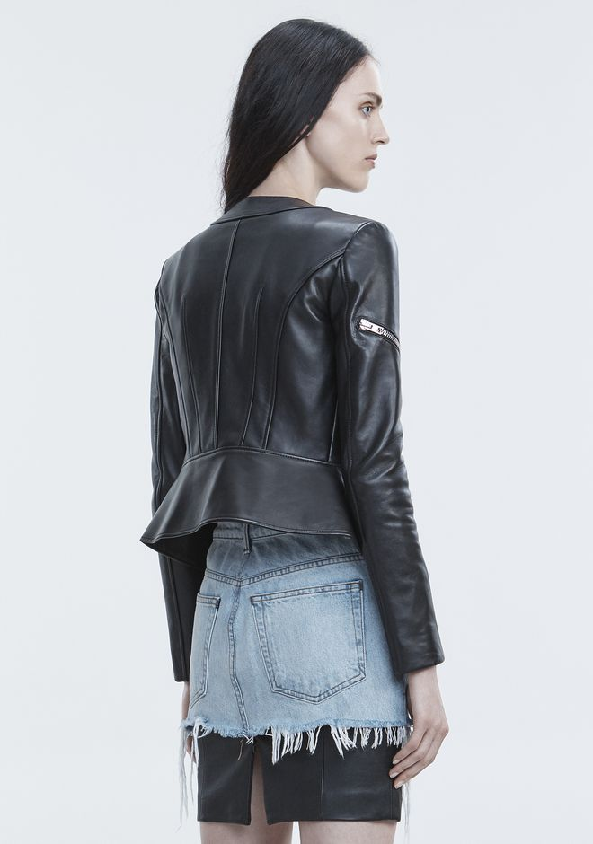 ALEXANDER WANG PANELED BIKER JACKET JACKETS AND OUTERWEAR  Adult 12_n_r