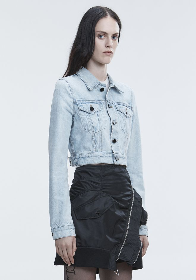 ALEXANDER WANG BARE CROPPED DENIM JACKET DENIM Adult 12_n_a