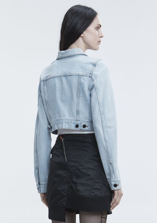 ALEXANDER WANG BARE CROPPED DENIM JACKET DENIM Adult 12_n_e