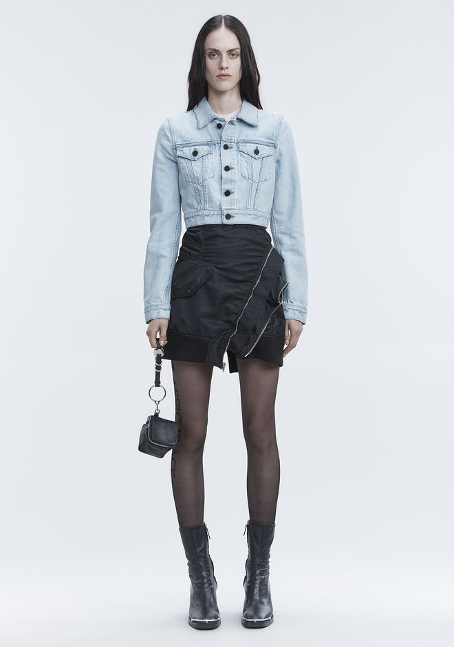 ALEXANDER WANG BARE CROPPED DENIM JACKET JACKETS AND OUTERWEAR  Adult 12_n_f