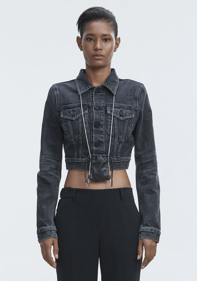 ALEXANDER WANG BARE CROPPED DENIM JACKET JEAN Adult 12_n_d