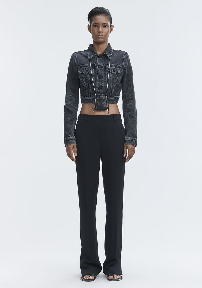 ALEXANDER WANG BARE CROPPED DENIM JACKET JEAN Adult 12_n_f