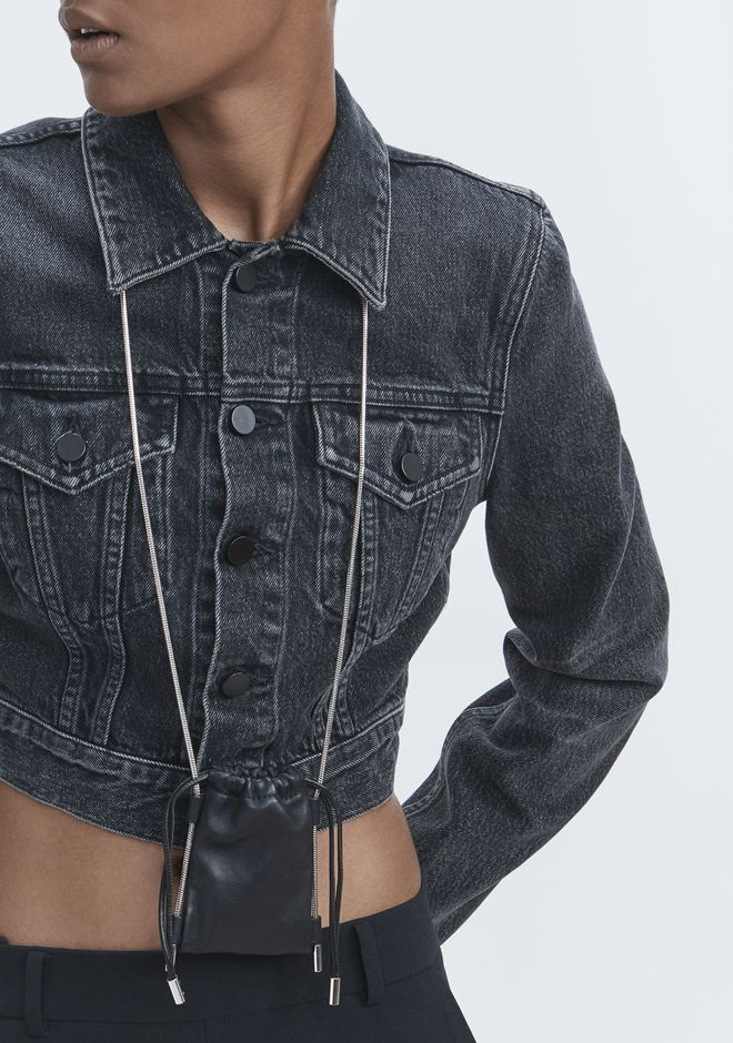 ALEXANDER WANG BARE CROPPED DENIM JACKET JEAN Adult 12_n_r