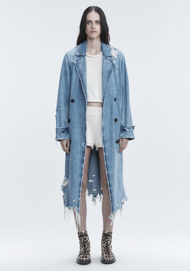 T by ALEXANDER WANG JACKETS AND OUTERWEAR  Women DENIM TRENCH COAT
