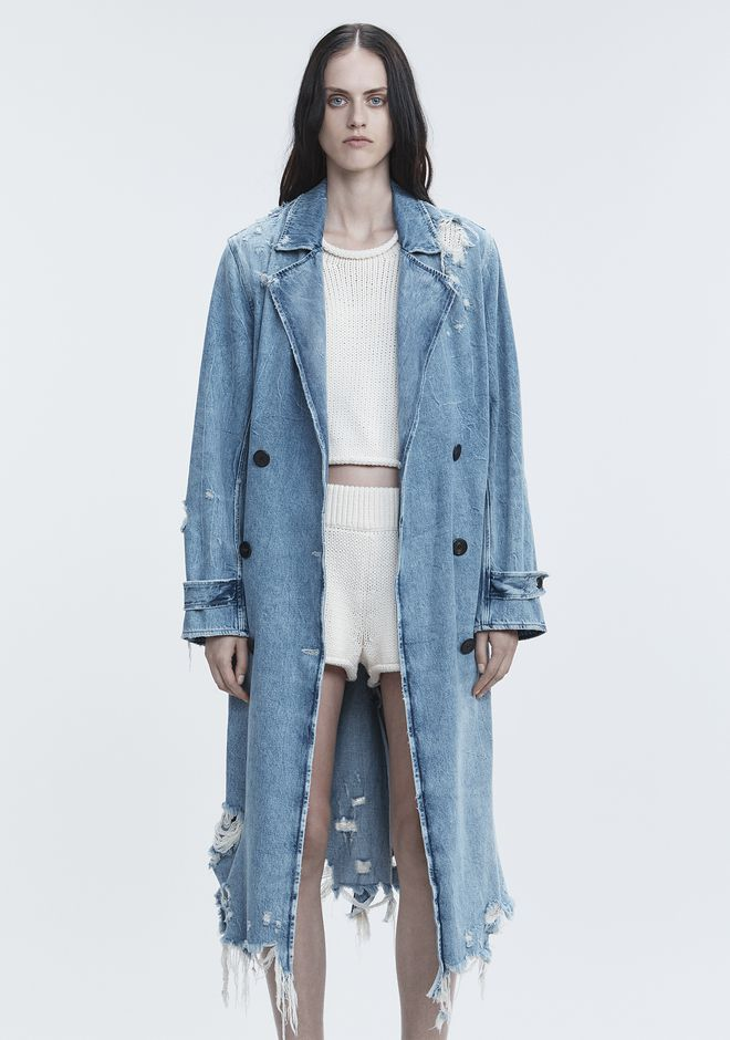 ALEXANDER WANG DENIM TRENCH COAT DENIM Adult 12_n_d