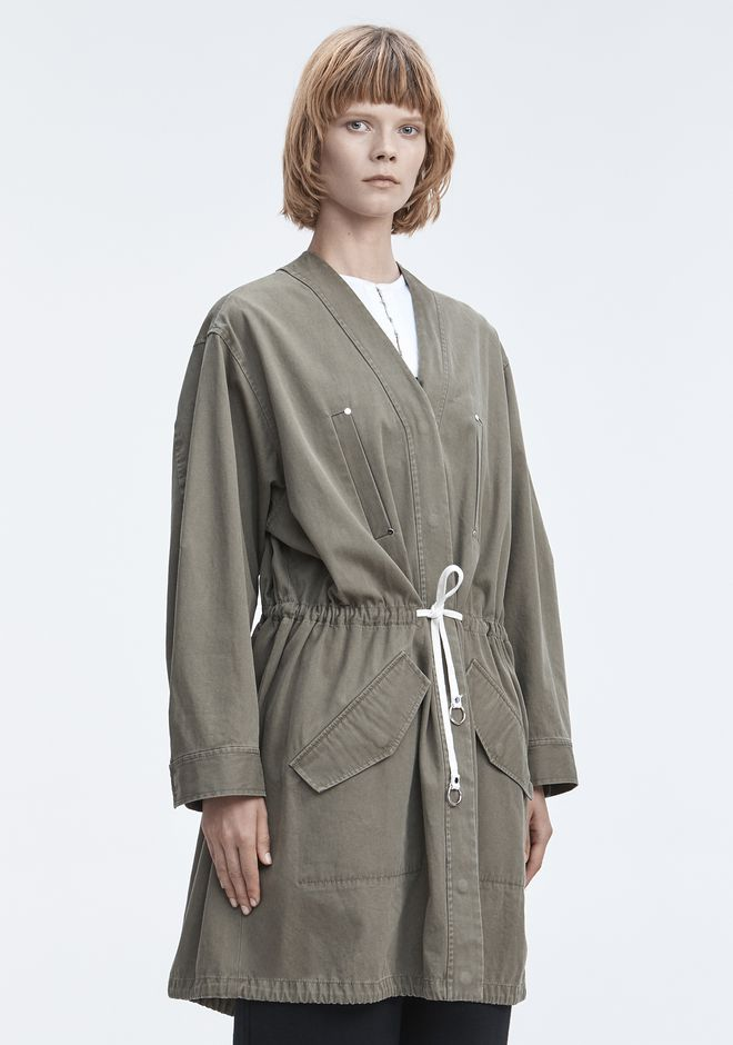 T by ALEXANDER WANG JACKET WITH GATHERED WAIST JACKETS AND OUTERWEAR  Adult 12_n_a
