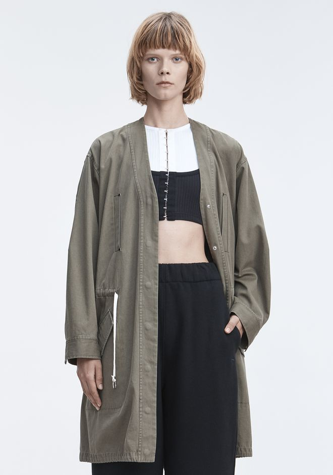 T by ALEXANDER WANG JACKET WITH GATHERED WAIST JACKETS AND OUTERWEAR  Adult 12_n_d