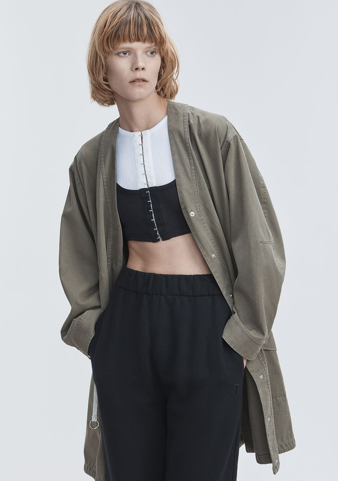 T by ALEXANDER WANG JACKET WITH GATHERED WAIST VESTES ET VÊTEMENTS OUTDOOR Adult 12_n_e