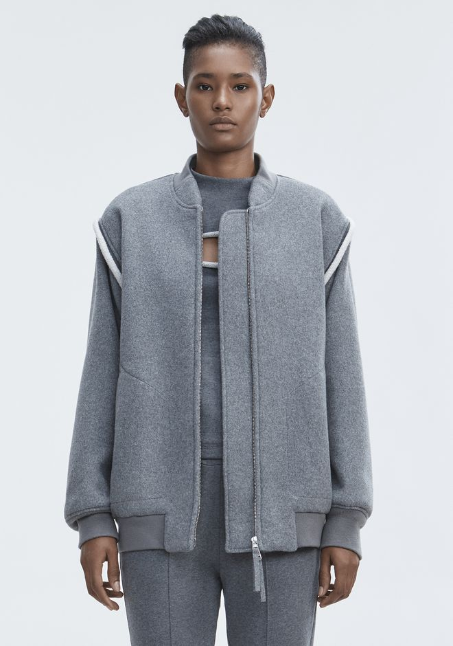 T by ALEXANDER WANG WOOL BOMBER JACKET JACKETS AND OUTERWEAR  Adult 12_n_d