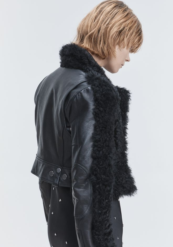 ALEXANDER WANG SHEARLING MOTO JACKET JACKETS AND OUTERWEAR  Adult 12_n_e