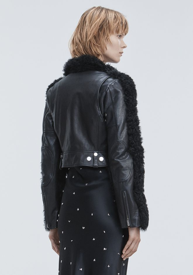 ALEXANDER WANG SHEARLING MOTO JACKET JACKETS AND OUTERWEAR  Adult 12_n_r