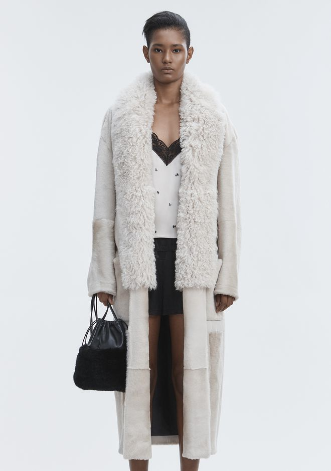 ALEXANDER WANG LEATHER ROBE WITH SHEARLING COLLAR 夹克及外套 Adult 12_n_d