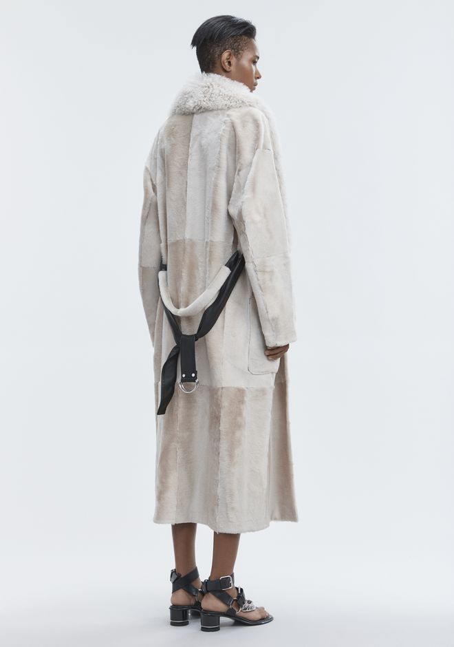 ALEXANDER WANG LEATHER ROBE WITH SHEARLING COLLAR JACKETS AND OUTERWEAR  Adult 12_n_e