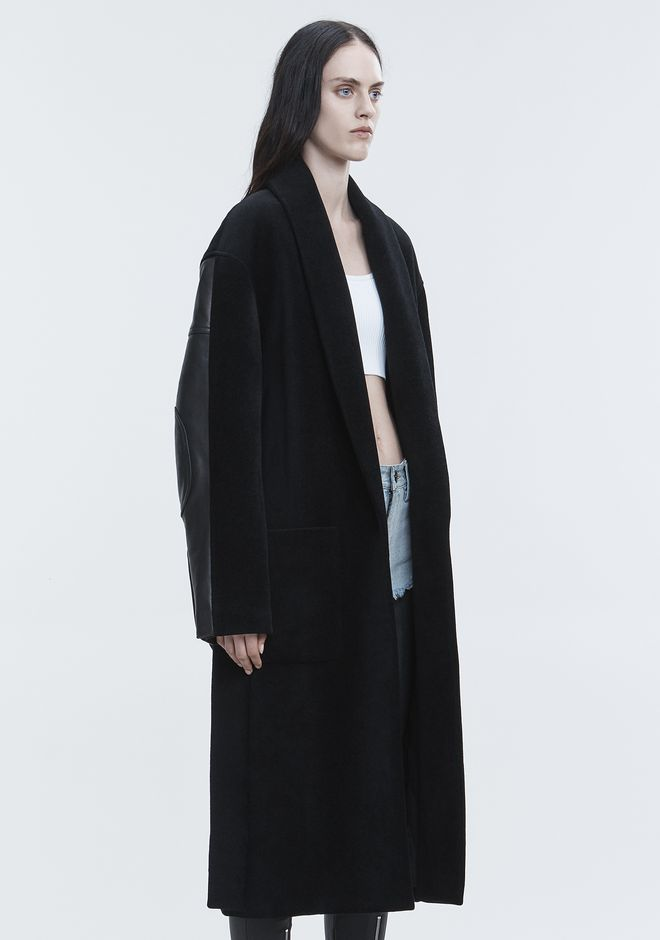 ALEXANDER WANG LEATHER HYBRID ROBE JACKEN & OUTERWEAR   12_n_a
