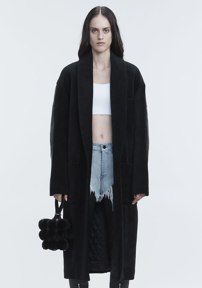 ALEXANDER WANG LEATHER HYBRID ROBE JACKEN & OUTERWEAR   12_n_d