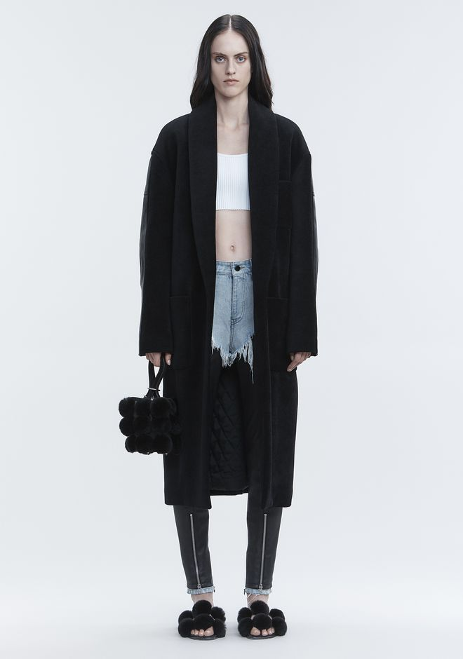 ALEXANDER WANG LEATHER HYBRID ROBE JACKETS AND OUTERWEAR   12_n_f