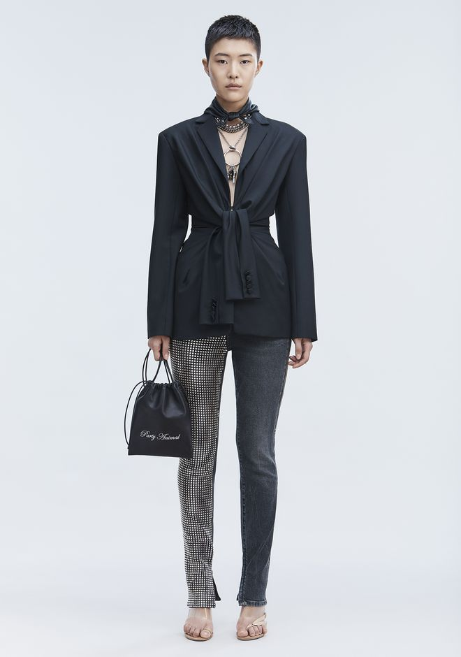 ALEXANDER WANG TIE FRONT TUXEDO JACKET JACKETS AND OUTERWEAR  Adult 12_n_f